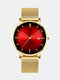 Alloy Business Gradient Color Multi-function Mesh Strap Watch - Gold+Red