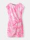 Knotted Short Sleeve O-neck Tie Dye Women Print Dress - Rose