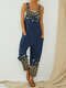 Butterfly Flower Print Strap Button Casual Jumpsuit With Pocket - Blue