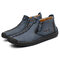 Men Hand Stitching Leather Non Slip Side Zipper Casual Boots - Blue