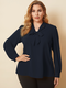 Solid Color V-neck Long Sleeve Knotted Plus Size Blouse for Women - Navy