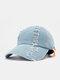 Unisex Denim Made-old Broken Hole Letter Pattern Patch Fashion Personality Sunshade Baseball Hat - Light Blue