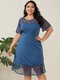 Lace Patchwork O-neck Ripped Back Midi Plus Size Sexy Dress - Blue