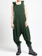 Drop-crotch Solid Color Sleeveless Plus Size Hooded Jumpsuit - Army