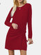 Solid Color Long Sleeve O-neck Drawstring Pleated Mini Dress - Wine Red