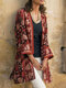 Ethnic Floral Print Long Sleeve Vintage Kimono For Women - Red
