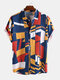 Hombre Geometric Colorful Block Printed Short Sleeve Camisa - Amarillo