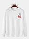 Mens Cotton Back Cartoon Animal Letter Print Casaul Crew Neck Sweatshirts - White