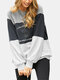 Contrast Color Patchwork Print O-neck Loose Sweatshirt For Women - Gray