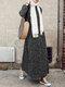 Bohenmia Print A-line Long Sleeve Casual Plus Size Dress - Black