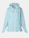 Striped Hooded Hiking Plus Size Protective Jackets - Green