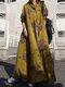 Vintage Blumendruck Big Swing Langarm Pure Cotton Kleid - Gelb