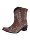 Women Folkways Floral Embroidered Chunky Heel Slip-On Short Cowboy Boots - Brown