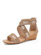 Women Bohemian Summer Rhinestone Shoes Casual Back-zip Comfy Wedges Sandals - Apricot
