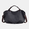 Women Canvas Solid Large Capacity Handbag Crossbody Bag - Black