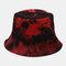 Men Double-Side Tie-dye Cotton Graffiti Ink Painting Sunscreen Street Trend Fisherman Hat Bucket Hat - Red