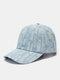ユニセックスデニムウォッシュドダメージトレンドファッションベースボールキャップ - 青い