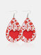 Vintage Drop-Shape Hollow Valentine's Day Heart PU Leather Earrings - #10