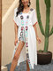 Women Crochet Patchwok Open Front Holiday Cover Up With Belted - White