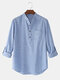 Mens 100% Cotton Solid Color Casual Long Sleeve Henley Shirts - Blue