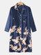 Plus Size Women Crane Pattern Ethnic Style Faux Silk Long Sleeve Home Robes - Blue