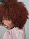 Afro Small Curly Women Short Curly Hair Explosion Head Chemical Fiber Full Head Cover Wig - Wine Red