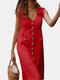 Solid Color V-neck Front Button Pockets Sleeveless Cotton Midi Dress - Red