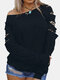 Leopard Patchwork Long Sleeve Casual T-Shirt For Women - Black