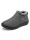 Letter Warm Fur Lining Waterproof Flat Black Sole Boots For Women - Gray