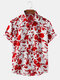 Mens Floral Printed Breathable Casual Short Sleeve Shirts - White