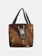 Women Felt Donkey Print Handbag Shoulder Bag Tote - Coffee