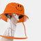 Children's Fisherman Hat Detachable Face Screen Windproof Transparent Dust Cap  - Orange