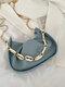 Casual Thick Chain Faux Fur Pleated Design Underarm Bag Simple Multi-Carry Dumpling Bag - Blue