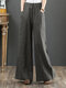 Casual Loose Drawstring Plus Size Wide Leg Pants - Grey