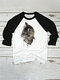 Cat Print Long Sleeves O-neck Casual T-shirt For Women - Black