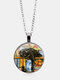 Vintage Glass Printed Women Necklace Black Cat Bookcase Crystal Pendant Sweater Chain Jewelry Gift - Silver