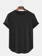 Mens Solid Color Breathable & Thin Loose Casual O-Neck T-Shirts - Black