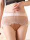 Women High Waisted Modal Lace Patchwork Full Hip Soft Thin Comfy Smooth Panty - Nude