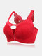 Plus Size Women Daisy Embroidered Beauty Back Front Closure Wireless Gather Bras - Red