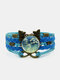 Vintage White Floral Pattern Print Butterfly Braided Gemstone Multi-layer Bracelet - Blue