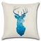 Современный минимализм Чехол для подушки в скандинавском стиле Blue Elk Геометрический принт Льняная наволочка