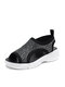 Women Rhinestone Decor Knitted Fabric Comfortable Breathable Casual Platform Sports Sandals - Black