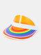 Unisex Dacron Transparente Regenbogenfarbe Außen UV Schutz Regenbogen Leere Oberseite Hut Baseballkappe - #02