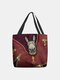 Women Felt Donkey Print Handbag Shoulder Bag Tote - Red