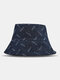 Unisex Denim Solid Color Ripped Holes Frayed Edges Fashion Made-old Bucket Hat - Navy