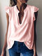 Solid Color Sleeveless V-neck Casual Blouse For Women - Pink
