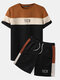 Preppy Mens Patchwork Letter Color Crew Neck Short Sleeve Two Pieces Outfits - Brown