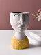 1PC Art Portrait Flower Pot Vase Sculpture Resin Human Face Family Flower Pot Handmade Garden Storage Flower Arrangement Home Decors - Girl-2