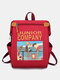 Men Women Causal Canvas Hip-hop Large Capacity Patchwork Backpack - Red