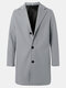 Mens Solid Color Single-Breasted Casual Loose Fit Mid-Length Overcoat - Light Grey